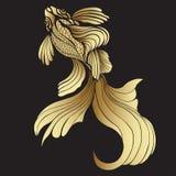 Goldfische, Grafik Dekorative abstrakte Fische, mit goldenen Skalen, kräuselten Flossen auf schwarzem Hintergrund Juwelverzierung Stockfotografie