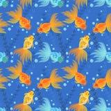Goldfische im nahtlosen Musterhintergrund des Pfund stock abbildung