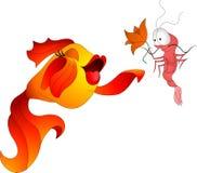 Goldfish με τις γαρίδες Στοκ εικόνες με δικαίωμα ελεύθερης χρήσης