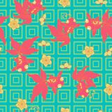 Goldfish με το άνθος ροδάκινων ελεύθερη απεικόνιση δικαιώματος