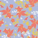 Goldfish με το άνθος ροδάκινων διανυσματική απεικόνιση