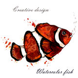 Goldfish που απομονώνεται όμορφο στο λευκό στο ύφος watercolor Στοκ φωτογραφίες με δικαίωμα ελεύθερης χρήσης