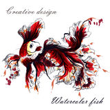 Goldfish που απομονώνεται όμορφο στο λευκό στο ύφος watercolor Στοκ φωτογραφία με δικαίωμα ελεύθερης χρήσης