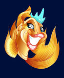 Goldfish. The illustration shows a fantastic, fun, golden, happy goldfish in the crown. Illustration done in cartoon style, on a dark background Royalty Free Stock Photos