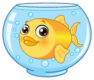 Goldfish. Illustration of a gold fish in a bowl Stock Photos