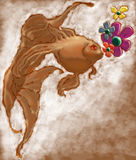 Goldfish. A goldfish with flowers under the river vector illustration