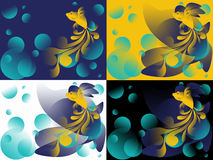 Goldfish in abstraction on 4 different backgrounds. Goldfish with a fluffy tail in the abstract on 4 different backgrounds Royalty Free Stock Images