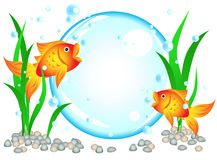 Goldfish advertisement. Fun cartoon goldfish advertisement illustration with room for your text in the big bubble: perfect for seafood restaurant, menu, birthday Stock Photography