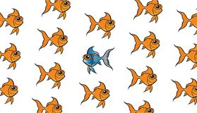 Goldfish being different. Blue goldfish being different than the others, Sweems against the wave stock illustration