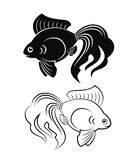 Goldfish. Black and white goldfish figures grand tails vector illustration Royalty Free Stock Images