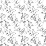 Goldfish, black and white seamless pattern. Underwater life, goldfish, seamless pattern, black and white vector illustration Royalty Free Stock Photography