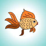 Goldfish on a blue background Royalty Free Stock Photography