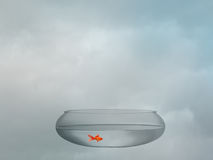 Goldfish bowl over sky. Serenity, tranquility concept. Stock Photo