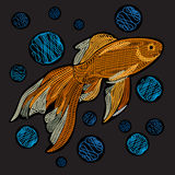 Goldfish with bubbles. Embroidery with golden fish on a black ba Royalty Free Stock Images