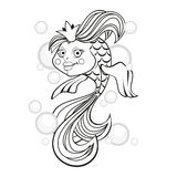 Goldfish with bubbles. Vector black and white illustration. Stock Images