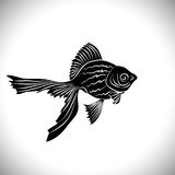 Goldfish cards black silhouette. Stock Photography