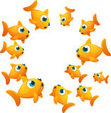 Goldfish circle. Goldfish set in circle shape looking inside Royalty Free Stock Photography