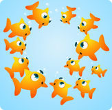 Goldfish circle. Goldfish underwater set in a shape circle cartoon illustration Stock Photography