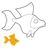 Goldfish coloring book. Fantastic yellow fish Stock Photo