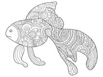 Goldfish Coloring book vector for adults Royalty Free Stock Photo