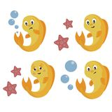 Goldfish with different emotions, vector illustration stock illustration