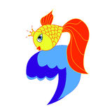 Goldfish. Fairy tale character, different fairness, honesty, creativity, patience, selflessness, compassion for the fisherman and able to speak Royalty Free Stock Images