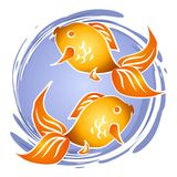 Goldfish Fish Bowl Clip Art. 2 abstract goldfish in a circle of water - could be in a pond, an aquarium, or a fish bowl Royalty Free Stock Photo