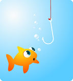 Goldfish fish looking at terrifying hook. Goldfish fish looking terrified at a hook  illustration Royalty Free Stock Images