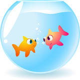 Goldfish fishes in love. Smiling and staring at each other, with many bubbles between them  illustration Royalty Free Stock Image