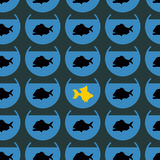 Goldfish in flock Piranha seamless pattern. Not like other. Diff Royalty Free Stock Photo