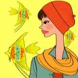 Goldfish and girl Stock Photography