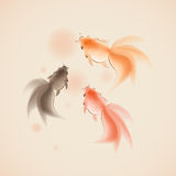Goldfish In Oriental Style Painting Royalty Free Stock Photo