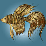 Goldfish with india ornament gradients Royalty Free Stock Photo