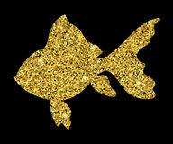Goldfish isolated.Goldfish from gold glitter.Gold dust background on black.Goldfish with sparkles.Gold fish logo. Stock Image