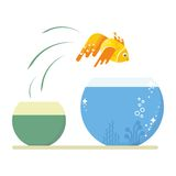 Goldfish jumping out. Of the dirty little fishbowl to another aquarium with clean and clear water. Objects isolated on white background. Flat cartoon vector Stock Photography