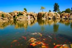 The Goldfish Lake. Chinas liaoning Province, Dalian City,Golden Pebble Beach Area Stock Photography
