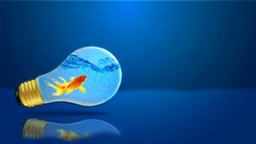 The Goldfish in the light. 3d photo of a goldfish in a light bulb on a blue background Royalty Free Stock Photos
