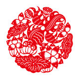 Goldfish with lotus(Chinese traditional paper-cut art) Royalty Free Stock Photos