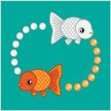 Goldfish_lucky_2018. Silver fish and Gold fish are goldfish.They are auspicious royalty free illustration