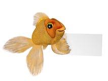 Goldfish mit einem Zeichen Lizenzfreies Stockbild