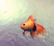 Goldfish modern wallpaper. Triangle mosaic flat surface 3d illustration Stock Photo