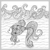Goldfish in the ocean. Hand drawn decorated fish in the ocean with waves. Image for adult and children coloring books, engraving, etching, embroidery, decorate t Stock Photos