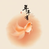 Goldfish in oriental style painting Royalty Free Stock Photos