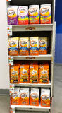 Goldfish packages. New York, August 7, 2017: Multi-shelf stand  with various Goldfish packages in a Duane Reade store in Manhattan Royalty Free Stock Image