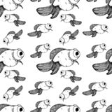 Goldfish pattern black lines different sizes royalty free illustration