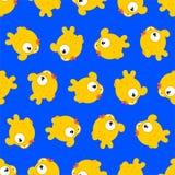 Goldfish pattern seamless. Gold Fish Sea animal background. ocean character ornament vector illustration