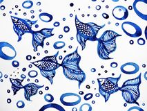 Goldfish pattern watercolor painting on paper illustration. Goldfish pattern watercolor painting on paper design illustration Stock Photography