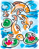 Goldfish in Pond. Goldfish swimming in pond abstract Stock Photo