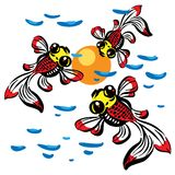 Goldfish and the reflection of the sun in the water. Colorfull drawing Royalty Free Stock Photo