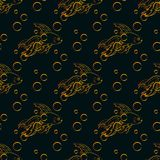 Goldfish seamless pattern. Seamless pattern with goldfish and bubbles on a dark background. Vector swatch Stock Images